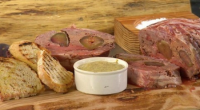 James Martin served up pork terrine with figs and chicken liver on Saturday Morning with James Martin. The ingredients are: 16 slices streaky bacon, 10 good quality pork sausages, skins...