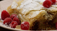 Simon Rimmer and Russell Brand served up a apple, date and almond strudel on today's episode of Sunday Brunch. The ingredients are: 750g British apples, peeled and chopped, 5g ground...
