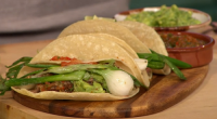 Rick Stein served up char-grilled beef tacos on today's episode of Sunday Brunch. The ingredients are: 900g rump of beef, very thinly sliced by your butcher into about 12 slices,...