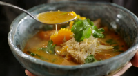 Jamie Oliver served up Thai red chicken soup on Jamie's Quick and Easy Food. The ingredients are: 1 x 1.6 kg whole free-range chicken, 1 butternut squash (1.2kg), 1 bunch...