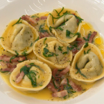 Monica Galetti ricotta and spinach tortellini pasta with bacon and sage butter sauce recipe on MasterChef: The Professionals