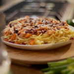 Matt Tebbutt spaghetti carbonara with salmon, chorizo and cauliflower recipe on Save Money: Good Food