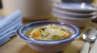 Mary Berry served up cock-a-leekie soup with shredded prunes on Mary Berry's Country House Secrets. The ingredients are: 1 x 1.5kg ready-to-cook chicken, 2 litres chicken stock (or water), 3...