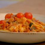 Gino's fusilli pasta with pancetta, mozzarella and a aubergine and courgette sauce recipe