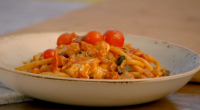 Gino D'Acampo served up fusilli pasta with pancetta, mozzarella and a aubergine and courgette sauce on Gino's Italian Coastal Escape. The ingredients are: 100ml olive oil, 1 large aubergine, cut...
