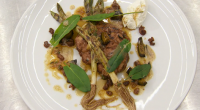 Marcus Wearing served up rose veal sweetbread with baby leeks, goats curd and a cherry vinegar sauce on MasterChef: The Professionals. See recipes from Marcus Wearing in his new book...