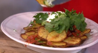 Phil Vickery showcased his 4 ways with the humble spud theme including a potato nachos with tomato salsa and sour cream dish on This Morning. The ingredients are: 8 medium...