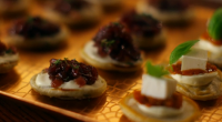 Darcey Bussell and Mary Berry served up blinis with a creme fresh and caramelized onion topping together with a and goats' cheese and sundried tomato topping on Mary Berry's Christmas...