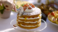 Mary Berry served up a delicious cricket cake with strawberries and lemon curd on Mary Berry's Country House Secrets. The ingredients are: 4 large free-range eggs, 225g self-raising flour, 225g...
