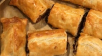 Nigel Barden served up giant festive sausage rolls on Radio 2 Drivetime with Simon Mayo. The ingredients are: 320g ready rolled puff pastry and 1 egg, beaten for glazing. For...