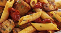 Sarah Millican served up a tasty Tuscan sausage and tomato pasta on Jamie and Jimmy's Friday Night Feast. The ingredients are: 1 onion, 1 carrot, 1 stick of celery, olive...