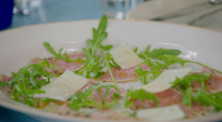 Jamie Oliver served up BBQ rose veal with rocket salad as part of his food fight with Jimmy Doherty on Jamie and Jimmy's Friday Night Feast. See more recipes from...