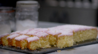 Paul Hollywood served up delicious coconut tray bakes on Paul Hollywood: A Baker's Life. The ingredients are: 200g caster sugar, 200g soften butter, 3 eggs, vanilla extract, 200g self raising...