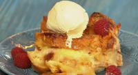 Simon Rimmer served up a delicious lemon curd with almond bread and butter pudding on Sunday Brunch. The ingredients are: 2 brioche loaves thick sliced bread, 150g butter, 100g toasted...