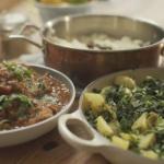 Matt Tebbutt chicken curry with saag aloo recipe on save Money: Good Food