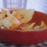 Jimmy Doherty's vegetables and dried fruit crisps made using a DIY dehydrator on Friday Night Feast