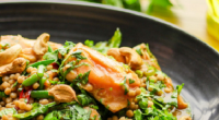 Simon Rimmer served up a tasty firecracker salmon dish on today's episode of Sunday Brunch. The ingredients are: 4 x 175g salmon fillets, 300ml honey, 200ml hot sauce, 2 sliced...