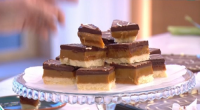 Phil Vickery served up deliciously naughty millionaire's shortbread on This Morning. The ingredients are: 125g soft plain flour, 70g cornflour, 125g soft salted butter, 40g caster sugar and 40g icing...