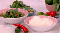 Phil Vickery served up a tasty spice up your life vegetable Thai curry with potatoes, green beans and fish sauce on This Morning. the ingredients are: 2 tbsp any oil,...