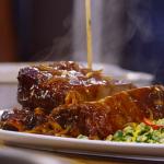James Martin beef short ribs with bourbon BBQ sauce and succotash salad recipe