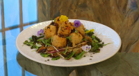 Ching-He Huang served up Hong Kong-style fried fish and coriander squid balls with dark soy noodles on Saturday Kitchen. For the coriander fish balls: 200g whole haddock fillet, skin removed,...