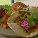 Tom Kerridge low calorie pulled pork tacos with pickled onions recipe