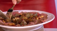 Gino served up a Sardinian dish for a longer healthier life with a beef with artichokes, chilli and walnuts dish on This Morning. the ingredients are: 400g fillet of beef...