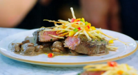 Johnny Vegas and Jamie Oliver served up a tasty fillet steak flambe with straw chips on Jamie and Jimmy's Friday Night Feast. The ingredients are: 1 sprig of fresh rosemary,...