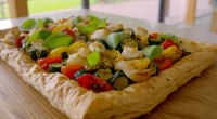 Tom Kerridge served up a tasty low calorie Mediterranean roasted vegetables puff pastry tart on Tom Kerridge's Lose Weight For Good. The ingredients are: 280g ready-rolled light puff pastry, 200g...
