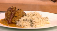 Madhur Jaffrey served up lamb shanks braised in a yoghurt sauce with basmati pilau rice, dill and cardamom on Saturday Kitchen. The ingredients for the lamb shanks are: 4 lamb...