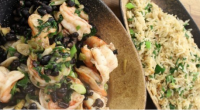 James Martin serves up a easy to make black bean prawns with egg fried rice dish on James Martin's Saturday Morning. The ingredients are: 1 tbsp vegetable oil, 2 cloves...