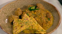 Vivek Singh served up goat and sweetcorn curry with chickpea flatbread on Saturday Kitchen. The ingredients for the goat and sweetcorn curry are: 1kg shoulder of goat, bones removed, meat...