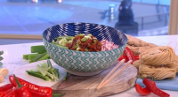 Ching He Huang served up tasty noodles with baby leeks and smoky bacon lardons in just 10 minutes on This Morning. The ingredients for the noodles are: 1 tbsp sesame...