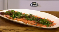 James Martin serves up a tasty hot salmon salad with sesame seeds and a yuzu and soy sauce on James Martin's Saturday Mornings. The ingredients are: 200g salmon fillet, skin...