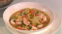 Prue Leith served up a tasty Vietnamese sweet and sour soup with shrimps and pineapple on Saturday Kitchen. The ingredients are: 2-3 tbsp vegetable oil, 2 small tomatoes, preferably slightly...