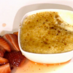 Simon Rimmer Caramelised Rice Pudding with Boozy Strawberries recipe on Sunday Brunch