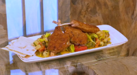 Joe Hurd served up a tasty caponata with stuffed lamb chops in memory of the late Antonio Carluccio on Saturday Kitchen. The ingredients for the stuffed lamb chops: 6-bone rack...
