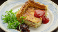 Simon Rimmer served up a tasty bacon and egg puff pastry pie on Sunday Brunch. The ingredients are: 1 block of puff pastry, rolled, 1 egg wash, 400g smoked bacon,...