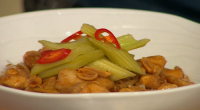 Simon Rimmer served up tasty kung pao chicken with a chilli and celery pickle on Sunday Brunch. The ingredients are: 600g chicken breast fillets, 50g cornflour, 50ml shaoxing wine, 50ml...