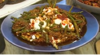 Sabrina Ghayour serves up tasty spiced green bean and tomato stew on Saturday Kitchen. The ingredients for the stew: 2 tbsp olive oil, 1 large head garlic, cloves thinly sliced,...