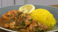 Jonathan Phang served up a tasty King prawn creole with rice on James Martin's Saturday Morning. The ingredients: 900g tiger prawns, washed and deveined, Juice of one lime, 1 teaspoon...