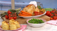 Phil Vickery recreate Harry and Meghan's roast chicken with honey and Duchess potatoes on This Morning. The ingredients are: 1 x 1.5 kg chicken, 3 tbsp runny honey, Salt, Ground...