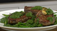James Martin served up tasty sirloin steaks with roasted broccoli and Chimichurri sauce on James Martin's Saturday Morning. The ingredients for the steaks are: 2 x 200g sirloin steaks, 25ml...