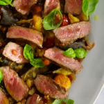 Jamie Oliver sizzling sirloin steak with aubergines recipe