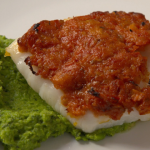 Zoe Birkett Sun-dried tomato crusted cod with pea mash recipe on Get a Holiday Body