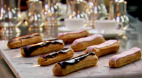 Raymond Blanc served up delicious chocolate eclairs with light choux pastry on Saturday kitchen. The ingredients for the choux pastry are: 4 tbsp water, 4 tbsp whole milk, 50g unsalted...