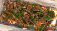 James Martin served up simple summer lamb chops with pumpkin for a taste of American on This Morning. The ingredients are: 2 racks of lamb, 8 chops on each, 2...
