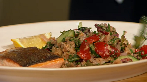 Tim Siadatan served up tasty wild salmon with panzenella on Sunday Brunch. The ingredients are: Wild Salmon, skin on but scaled (200g fillet per serve). For the panzenella: 100g Sourdough...