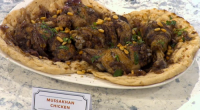 Yasmin Khan showcased her Palestinian Mussakhan Chicken on Sunday Brunch. The ingredients are: 1kg chicken thighs and drumsticks, skin on, 3 tablespoons extra virgin olive oil, plus more to serve,...