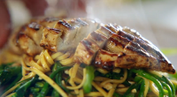 Jamie Oliver served up a tasty chicken noodle stir fry with peanuts, tenderstem broccoli and black bean sauce on Jamie's Quick and Easy Food. The ingredients are: 30 g unsalted...